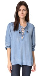 Scotch And Soda Maison Scotch Chambray Top With Lace Closure Denim
