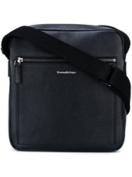 Ermenegildo Zegna Logo Embossed Messenger Bag Black