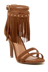 Nature Breeze Robin Fringe High Heel Sandal Brown