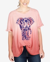 Lucky Brand Trendy Plus Size Elephant Graphic T Shirt Dusty Pink