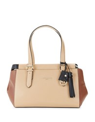 Karl Lagerfeld Smooth Leather Satchel Nude Combo