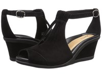 Earth Caper Black Suede Women's Wedge Shoes