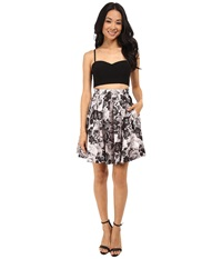 Aidan Mattox Bustier Top With Printed Party Skirt Black Multi Women's Skirt