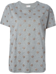 Red Valentino Glitter Polka Dot T Shirt Grey