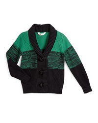 Petit Lem Port Of Call Striped Toggle Cardigan Green Navy