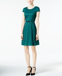 Jessica Howard Petite Belted Fit And Flare Dress Dark Green