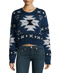 Neiman Marcus Long Sleeve Tribal Print Crop Sweater Indigo