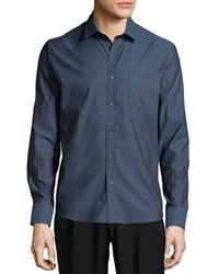 Neiman Marcus Long Sleeve Cotton Shield Sport Shirt Blue