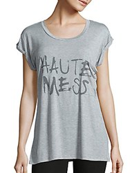 Haute Hippie Heathered Graphic Front T Shirt Light Heather