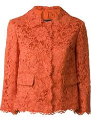 Dolce And Gabbana Floral Lace Jacket Yellow And Orange