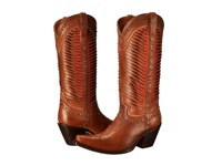 Lucchese M4873 Twisted Leather Tan Coral Cowboy Boots Brown