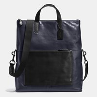 Coach Manhattan Foldover Tote In Sport Calf Leather Black Antique Nickel Midnight Black