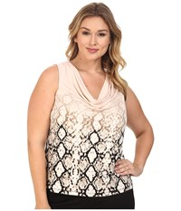Calvin Klein Plus Size Printed Cowl Neck Sleeveless Top Blush Multi Women's Sleeveless Pink