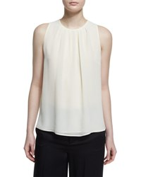 Etro Sleeveless Pleated Georgette Top White