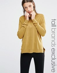 Noisy May Tall Roll Neck Jumper With Dipped Hem Olive Green
