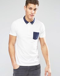 Esprit Jersey Polo Shirt With Polka Dot Trim White