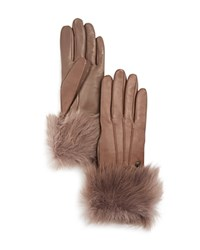 Ugg Leather Tech Gloves With Shearling Sheepskin Cuff Stormy Gray