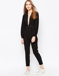 Daisy Street Jumpsuit With Plunge Neck And Stud Detail Black
