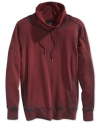 Guess Claxton Funnel Neck Heathered Sweatshirt Pinot Noir