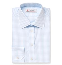 Turnbull And Asser Blue Slim Fit Checked Cotton Shirt Blue