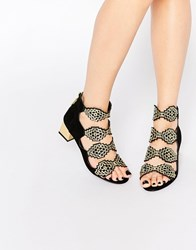 Kat Maconie Anna Black And Gold Detail Mid Heeled Sandals Black And Gold