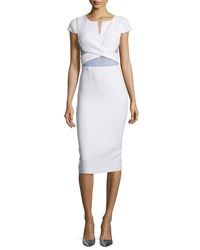 Roland Mouret Cap Sleeve Mesh Trim Pencil Dress White
