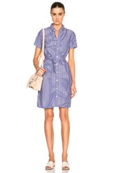 Engineered Garments Button Down Shirt Dress In Blue Stripes