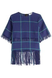 Msgm Printed Linen Top With Fringe Blue