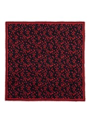 Givenchy Floral Virgin Wool Silk Scarf Red Multi Colour