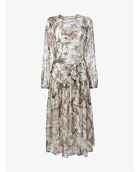 Zimmermann Slouch Floral Print Silk Dress White Brown Grey Green