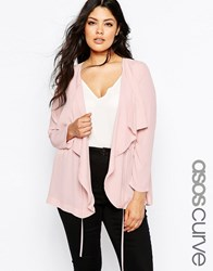 Asos Curve Relaxed Waterfall Blazer Nude Pink
