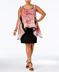 Sl Fashions Plus Size Printed High Low Popover Dress Coral Multi