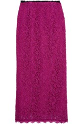 Topshop Unique Tybalt Corded Lace Midi Skirt Magenta