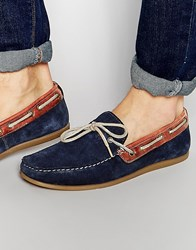 Red Tape Driving Loafers In Blue Suede Blue