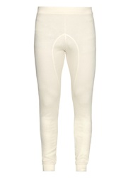 Off White Waffle Print Cotton Jersey Under Leggings