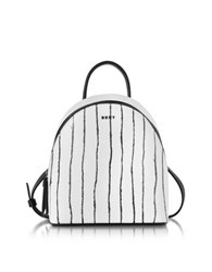 Dkny Twine Stripe Leather Mini Backpack White