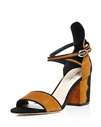 Isa Tapia Scalloped Block Heel Ankle Strap Sandals Black Arena