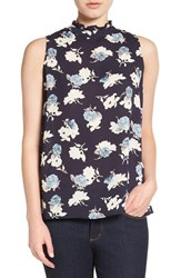 Gibson Women's Button Back Ruffle Neck Blouse Navy Floral