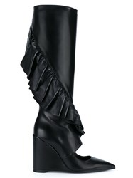 J.W.Anderson J.W. Anderson Leather Ruffle Boot With Cut Out Black