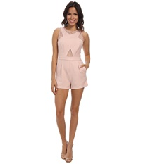 Bcbgmaxazria Linn Crossover Lace Rompers Dusty Pink Women's Jumpsuit And Rompers One Piece