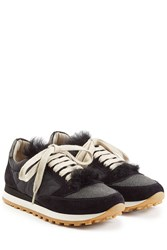 Brunello Cucinelli Sneakers With Suede And Fur Black