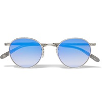 Garrett Leight California Optical Wilson Mirrored Round Frame Sunglasses Silver