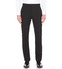 Reiss Claridge Slim Fit Straight Wool And Mohair Blend Trousers Black