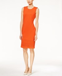 Calvin Klein Laser Cutout Sheath Dress Bright Orange