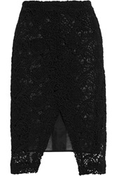 Michael Van Der Ham Macrame And Organza Pencil Skirt Black
