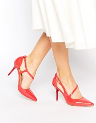 Ravel Strap Point Heeled Shoes Coral