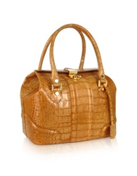 L.A.P.A. Sand Croco Stamped Italian Leather Tote Bag