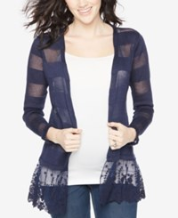 Motherhood Maternity Open Front Striped Cardigan Navy
