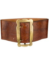 Erika Cavallini Buckle Waist Belt Brown
