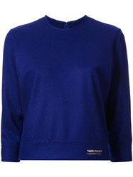 Theatre Products Three Quarters Sleeve Knit Blouse Blue